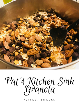 Granola - Pat's Kitchen Sink Granola - Granola with lots of flavor including organic Vietnamese cinnamon, Torani Chocolate and Caramel Sauces, Roasted Almonds, Hershey's sauces, Pecans, Organic Honey and much more in this #patskitchensinkgranola recipe